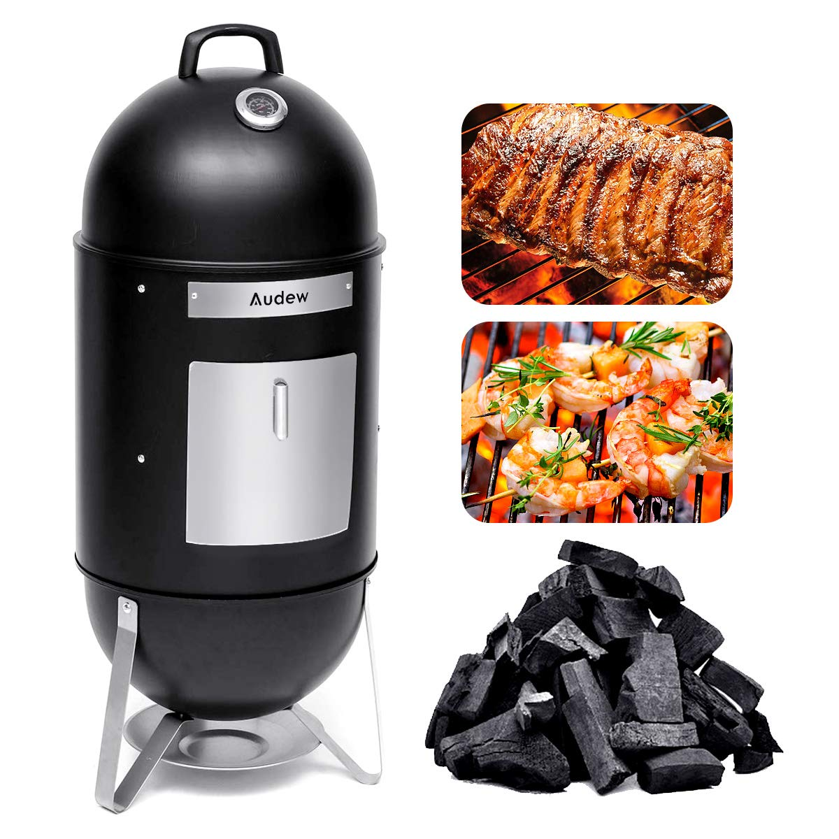 Audew Charcoal Smoker Grill Combo 18-Inch Vertical Smoked Turkey Grill BBQ Heat Control Outdoor Picnic Camping