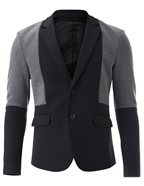 FLATSEVEN Mens Two Tone 2 Button Single Blazer Casual Jacket at Amazon Mens Clothing store:
