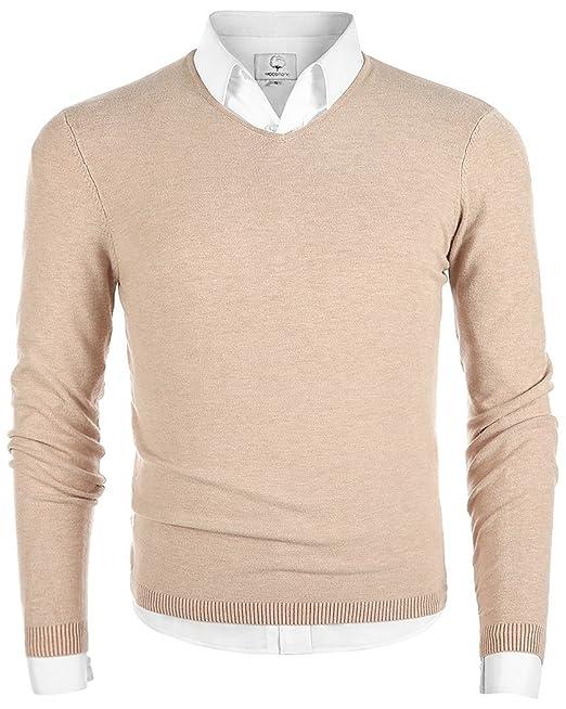7dcac6609e MOCOTONO Men s V-Neck Long Sleeve Pullover Casual Sweater  Amazon.ca ...