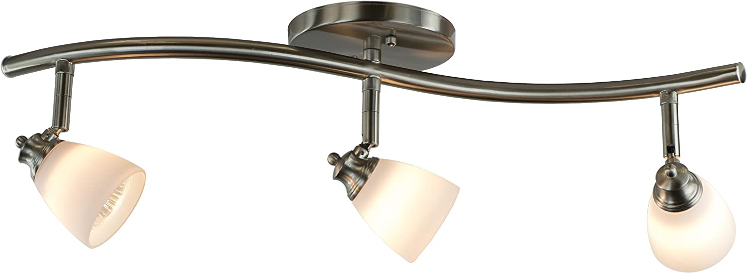 Direct-Lighting 3 Lights Adjustable Track Lighting Kit - Brushed Steel Finish - White Glass Track Heads - GU10 Bulbs Included. D268-23C-BS-WH
