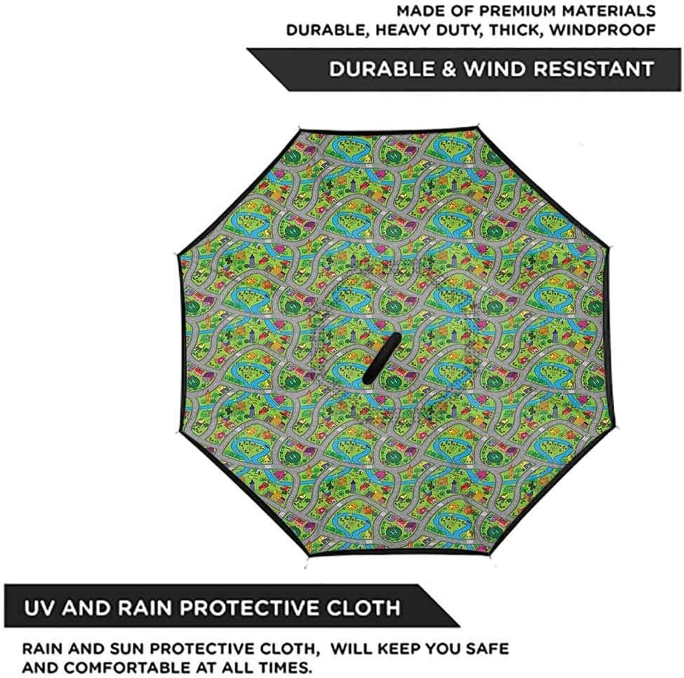Activity Cartoon Double Layer Inverted Reverse Windproof Folding Umbrellas for Car Outdoor with C-Shaped Handle 42.5x31.5Inch