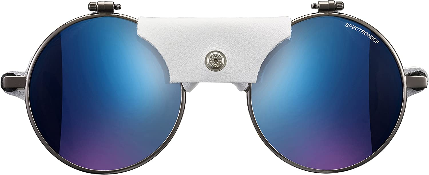 Gun//White Julbo Vermont Classic Mountaineering Sunglasses with Spectron 3 Polycarbonate Lenses and Total Cover Eye Protection Spectron 3CF
