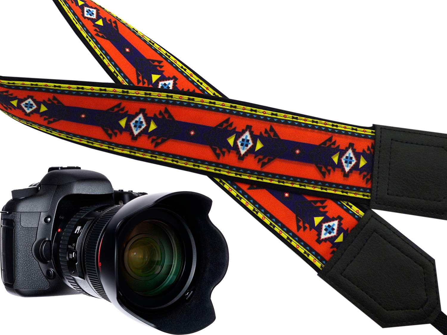 Ethnic Camera Strap Golden Aztec Camera Strap Code 00186 Colorful DSLR//SLR Camera Strap Light Weight and Well Padded Camera Strap Durable