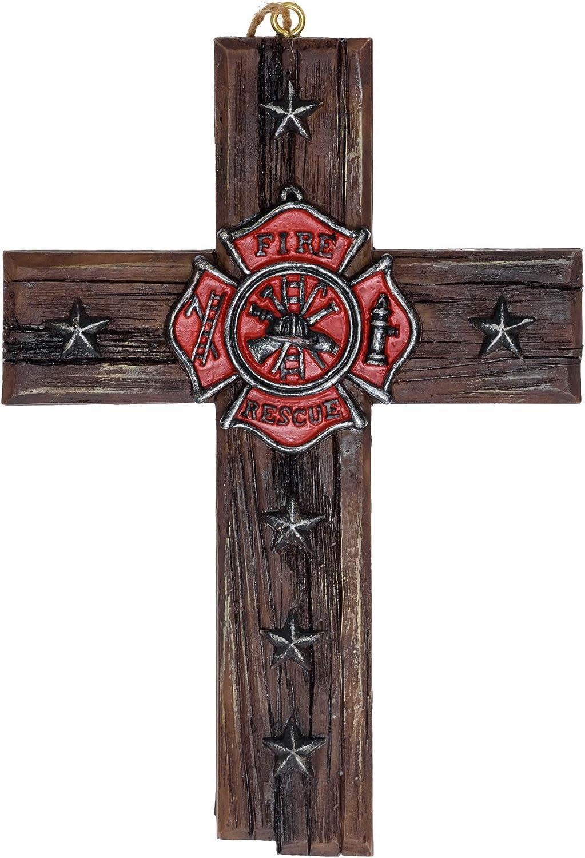 "Fireman Emblem Star Hanging Cross - Firefighter Cross Decorations For Home Roman Catholic Crucifix - Firefighter Office Wall Hanging Cross Decor Firefighter Retirement Gifts Memorabilia 4""x6"""