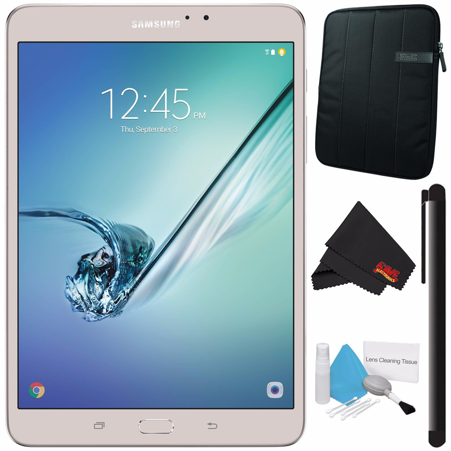 Samsung 32GB Galaxy Tab S2 8'' Wi-Fi Tablet (Gold) SM-T713NZDEXAR + Deluxe Cleaning Kit + MicroFiber Cloth + Universal Stylus for Tablets + Tablet Neoprene Sleeve 10.1'' Case (Black) Bundle by Samsung