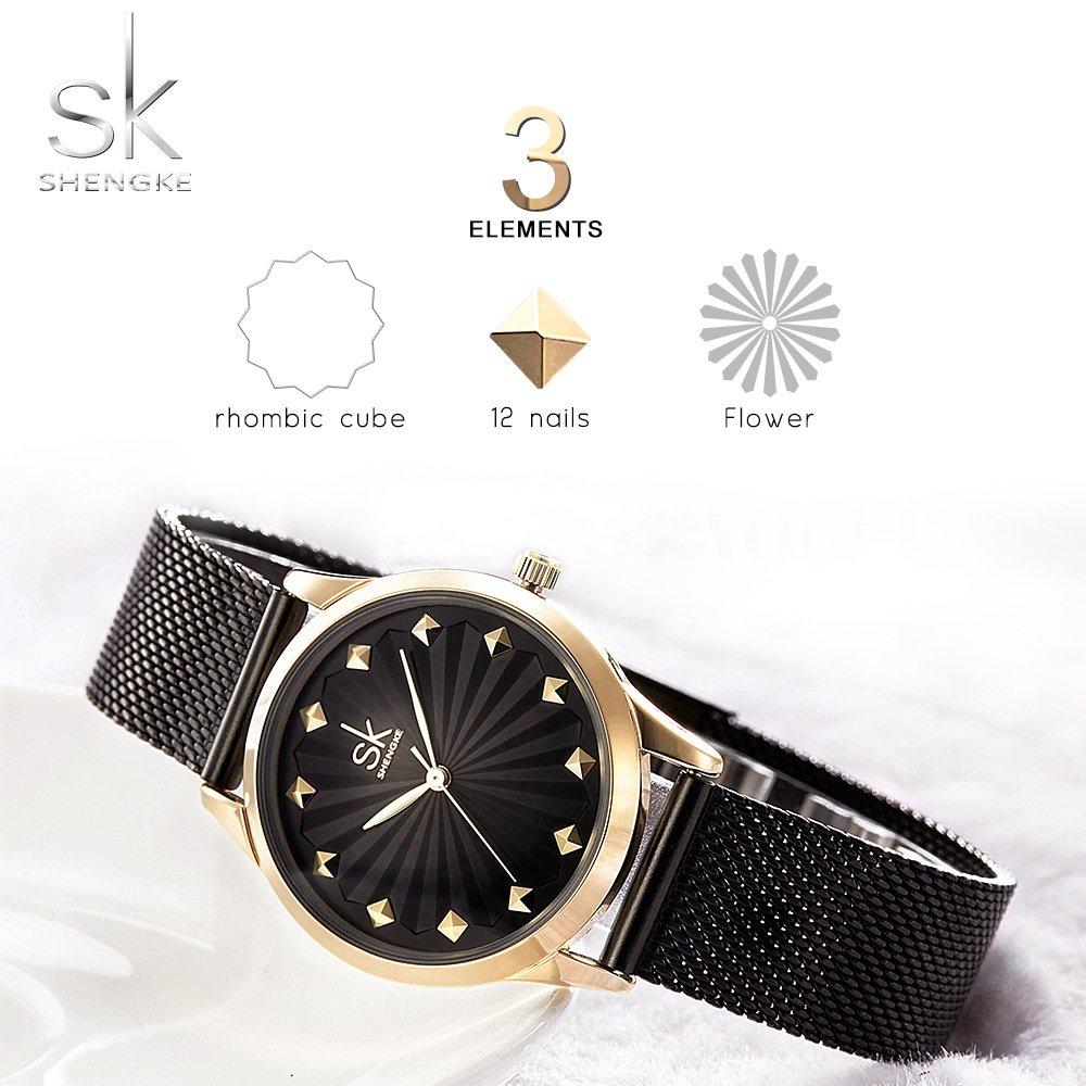 Amazon.com: SHENGKE Women Watches Luxury Quartz Casual Ladies Watch Slim Mesh Steel Waterproof Wristwatch Reloj Mujer Fashion: Watches
