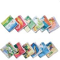 Mk Weaves Soft Poly Cotton Kids Cartoon Print Face Towel (12 X 12 inch) Multicolor Set of 12 Pieces