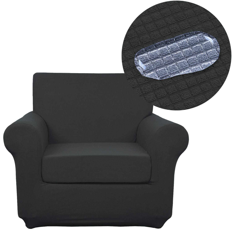 ANJUREN ソファ 春の新作シューズ満載 ラブシート アームチェア 椅子 スリップカバー 2ピース 防水 ジャカード ポリエステル ストレッチ しわ防止 プロテクター 家具 B07JFQLCHP スパンデックス 毎日激安特売で 営業中です グレー シールド Chair リビングルーム