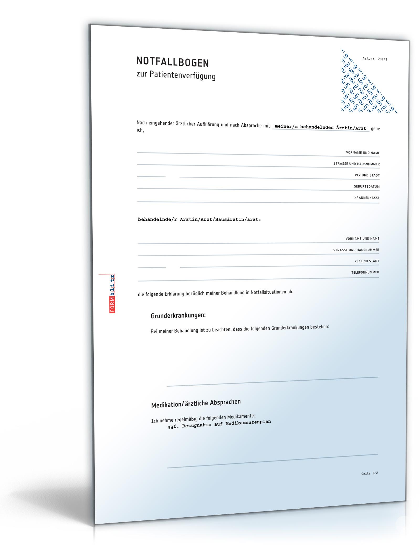 Notfallbogen Patientenverfügung Pdf Download Amazonde Software