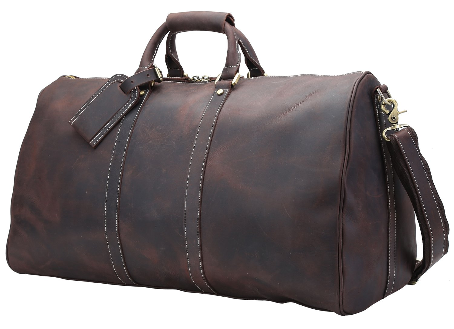 Texbo Men's Thick Durable Cowhide Leather Vintage Big Travel Duffle Evening Bag 23'' by Texbo
