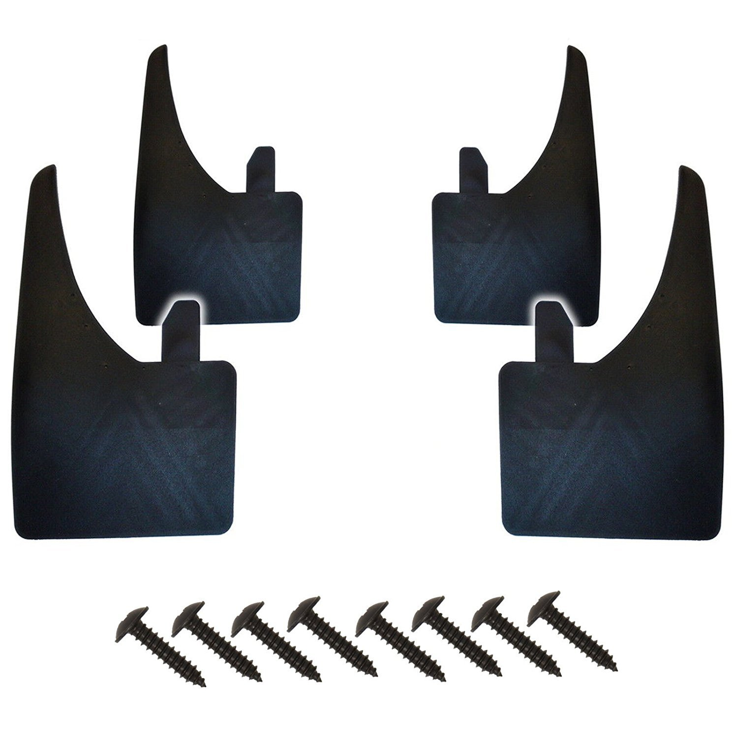 4 Universal Fit Black Front and Rear Wide Mudflaps Complete With Mounting Screws - Easy Fit Rubber Mud Flaps/Guards ASC