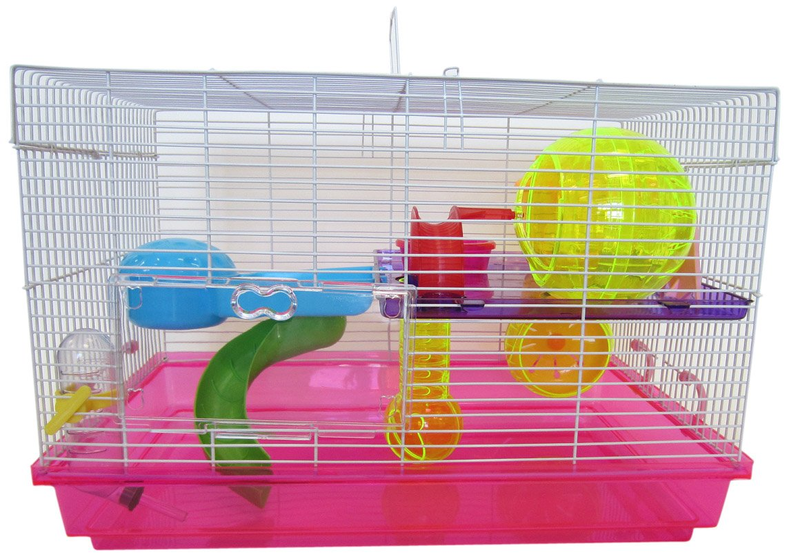 YML Clear Plastic Dwarf Hamster Mice Cage with Color Accessories, Pink