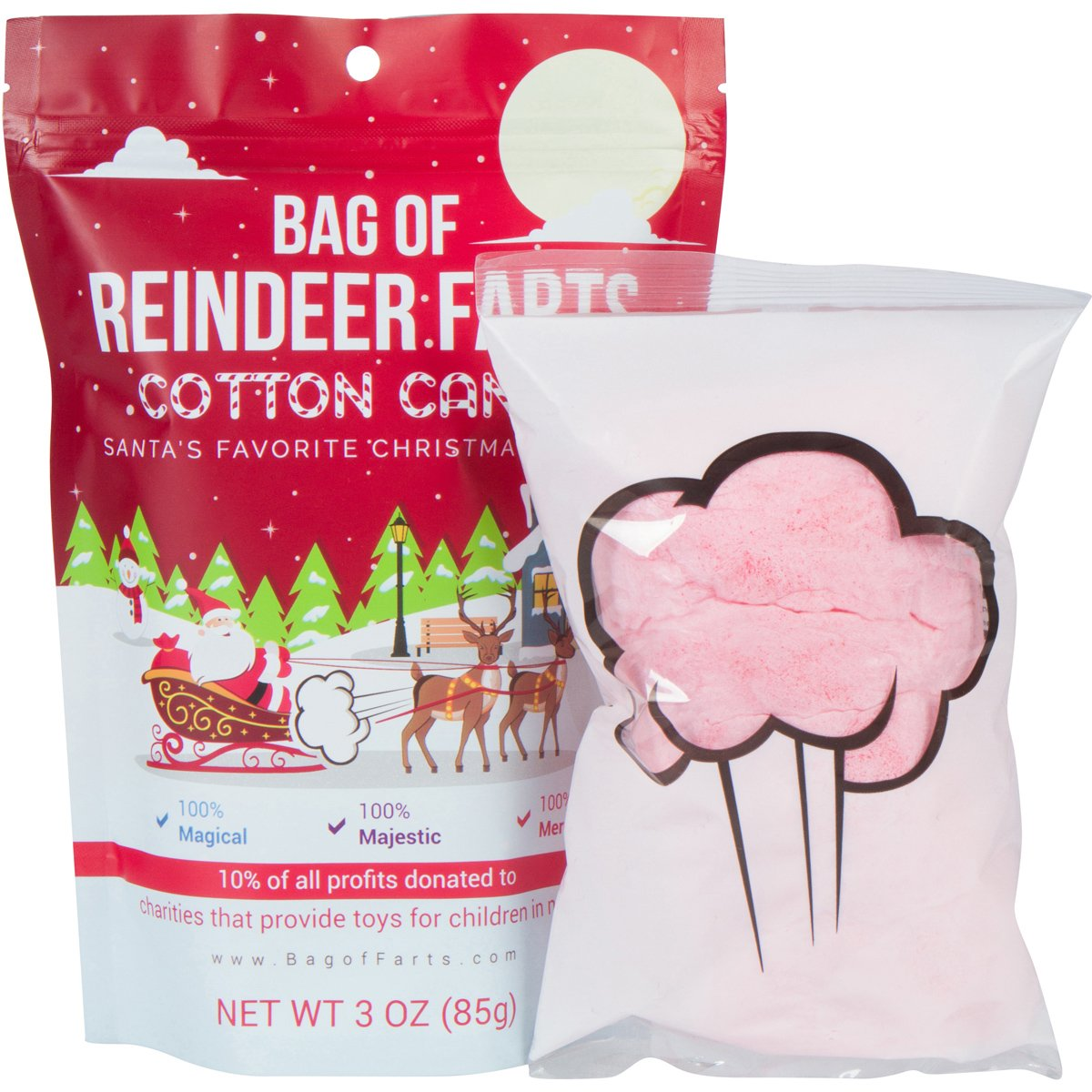 Bag of Reindeer Farts Cotton Candy Funny Unique Present Stocking Stuffer White Elephant