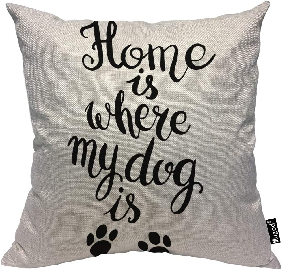 Mugod Pet Quote Decorative Throw Pillow Cover Case Home is Where My Dog is Footprint Black White Cotton Linen Pillow Cases Square Standard Cushion Covers for Couch Sofa Bed 18x18 Inch