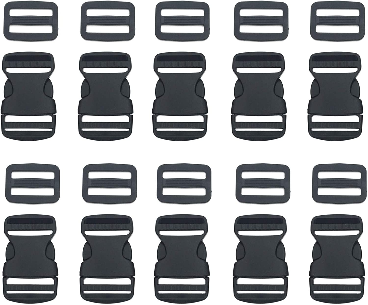 """EesTeck 10 Set 1 Inch Flat Dual Adjustable Plastic Quick Side Release Plastic Buckles and Tri-Glide Slides for Luggage Straps Pet Collar Backpack Repairing (Black, Fit for 1""""/25mm Webbing Straps)"""