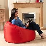 Bean Bag Bazaar® chaise pouf poire lambrissée XL pour l'intérieur/ l'extérieur ROUGE- pouf poire grand