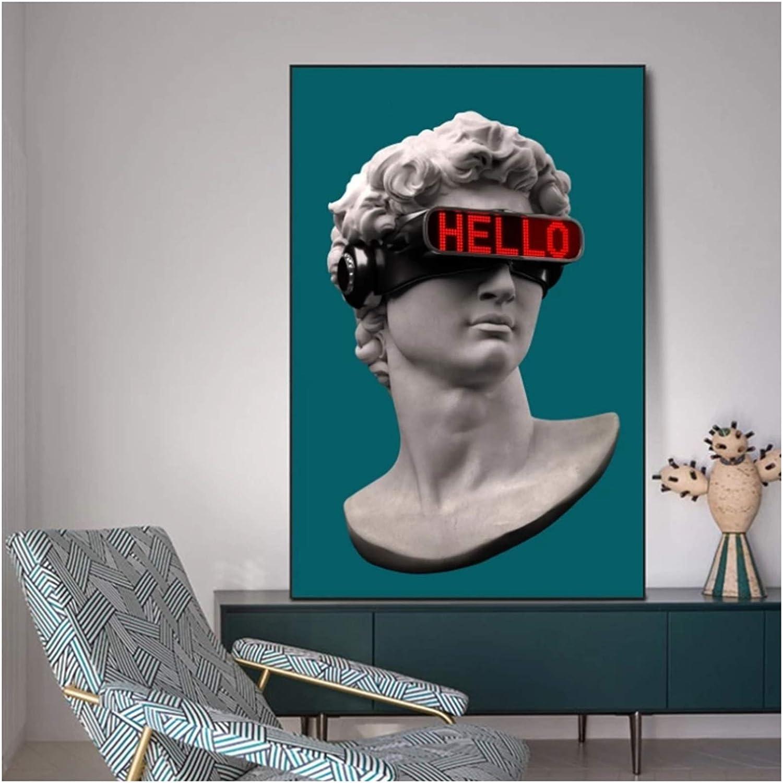 chtshjdtb David Skulptur mit VR Brille Wandkunst Leinwand Poster und Drucke Zusammenfassung David Leinwand Gem/älde an der Wand Dekor Bilder-50x70cm ohne Rahmen
