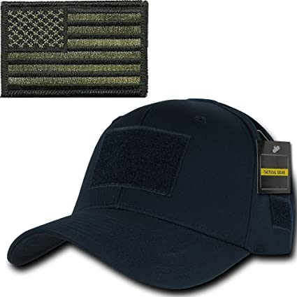 4df41f189 Ultimate Arms Gear Tactical Military Navy Blue Cap + OD Olive Drab Green  USA American Flag Patch