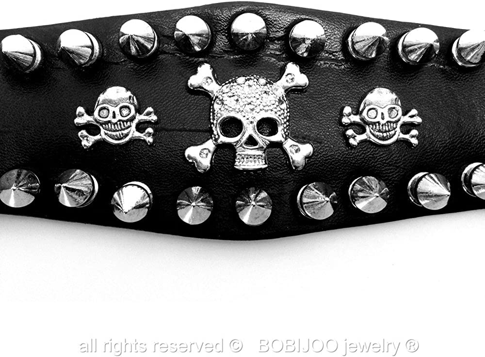 Bracelet Force Cuir Noir Clout/é Clou M/étallique 2 rang/ées T/ête de Mort Rock Punk Gothique Vintage BOBIJOO Jewelry