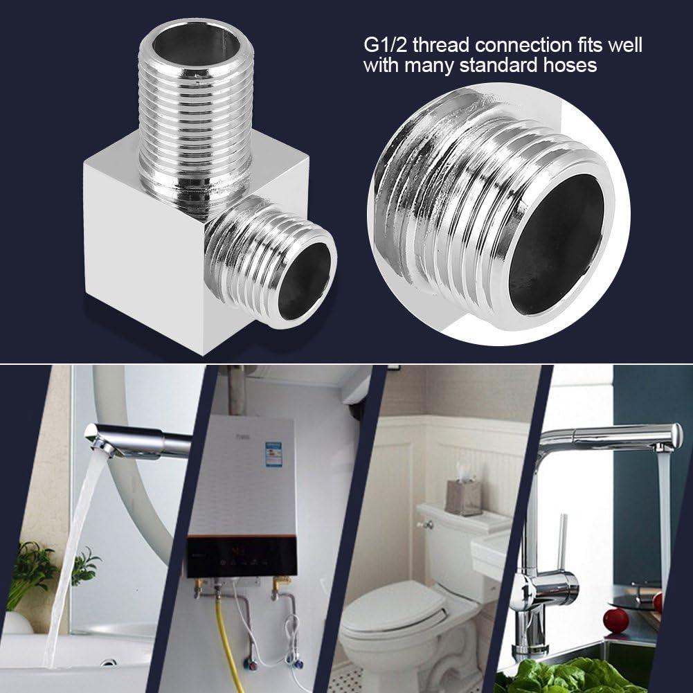 Conector de manguera de ducha de lat/ón G1//2 accesorios de conector de forma redonda adaptador de ducha de mano con codo de salida de ducha