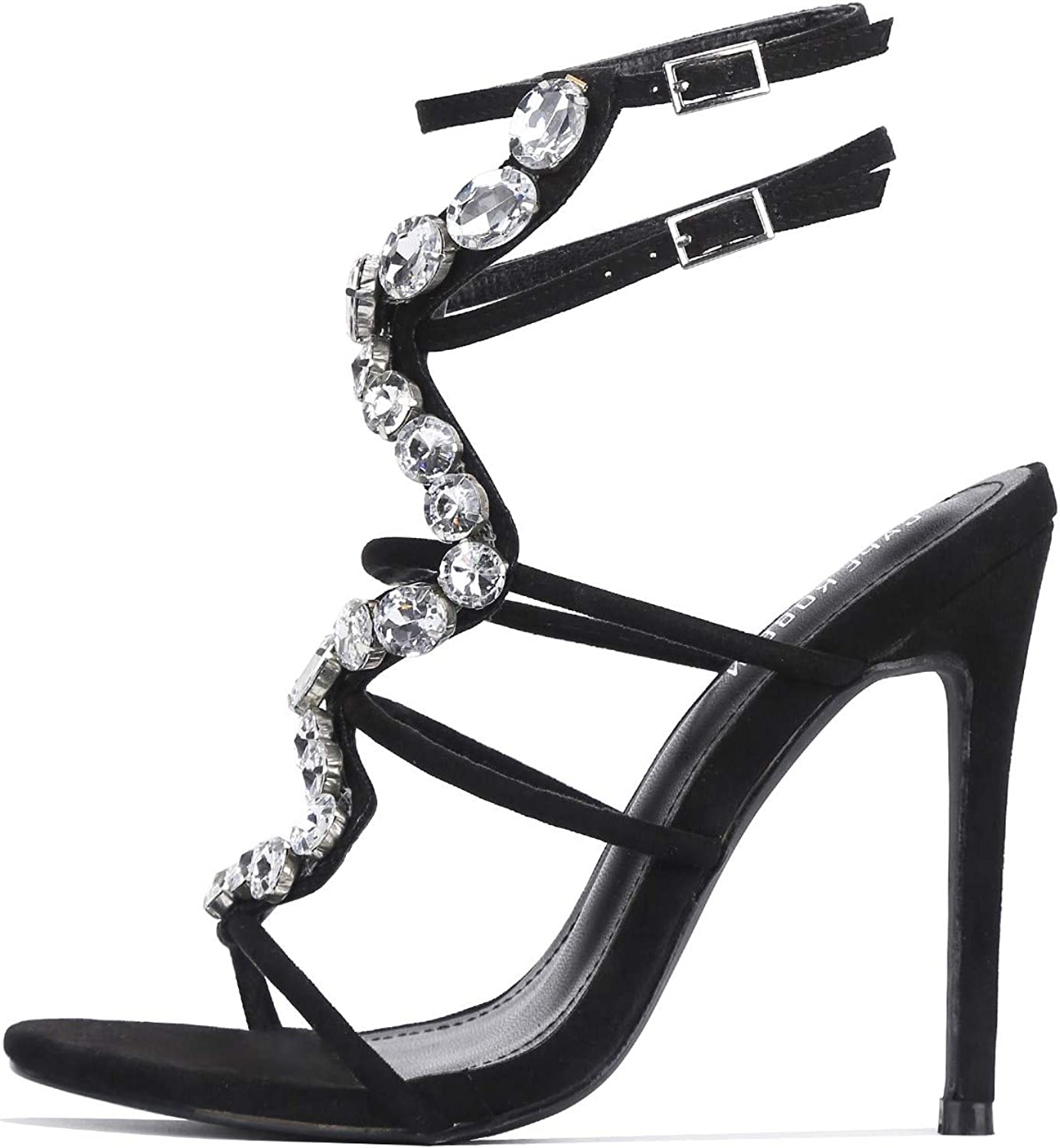 Cape Robbin Snake Road Sexy Stiletto High Heels for Women, Strappy Pointed Open Toe Shoes Heels