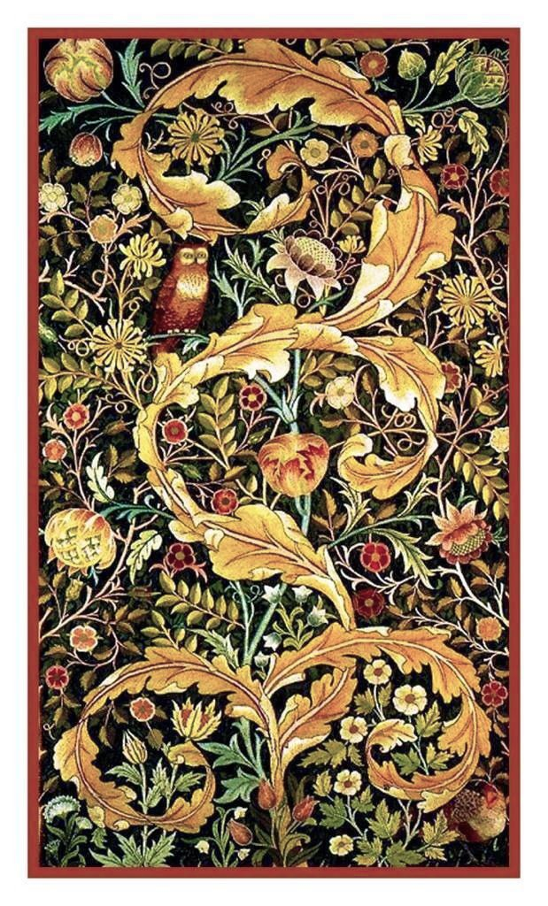 Orenco Originals William Morris Acanthus Leaves Owl Counted Cross Stitch Pattern