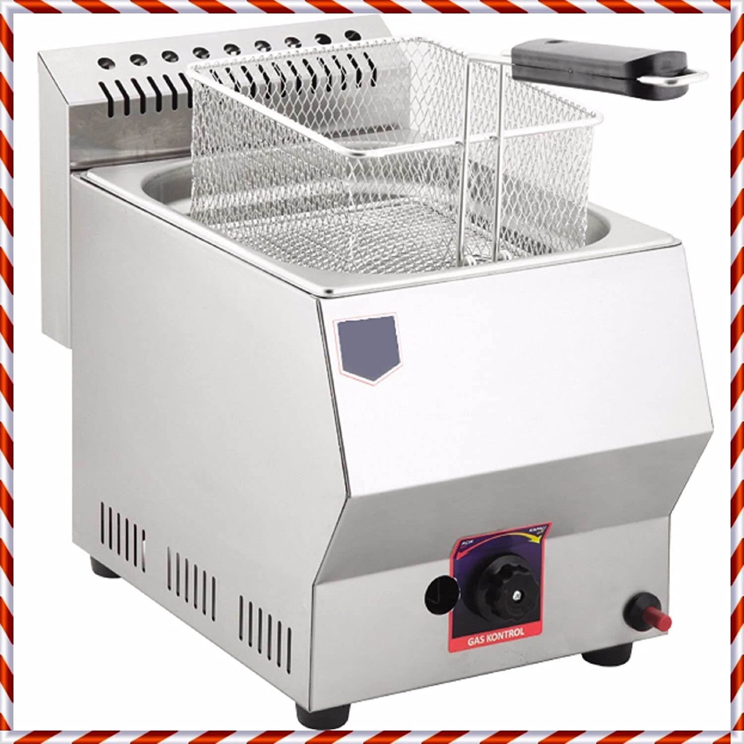 W:10.43'', L:20.87'', h:13.78'' PROPANE GAS Commercial industrial Kitchen Restaurant Catering 5 LT. Capacity Stainless Steel Tabletop Countertop Propan LPG Deep Fryer with Basket and Lid INCLUDED