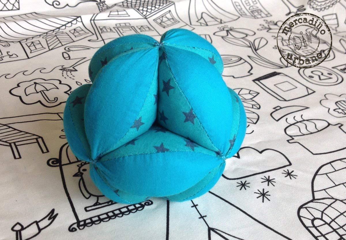 Kinderball, Montessori-Stil, Babyball, Montessori-Material, Sinnesgeschenk, Babyspielzeug, TÜRKIS-TÖNE (Sterne)