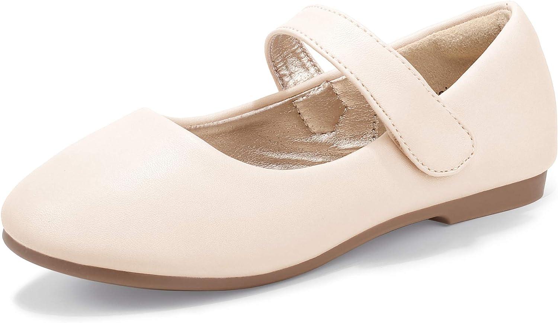 PANDANINJIA Toddler//Little Kid Girls Angela Dress Mary Jane Ballet Flats Bow Flower Girl Wedding Party Ballerina Flat Shoes
