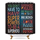Riyidecor Black Inspirational Quotes Showe Curtain Superhero Rules Motivational Quote Bathroom Decor Fabric Panel Kids Educational 72x72 Inch Waterproof Polyester 12-Pack Plastic Shower Hooks
