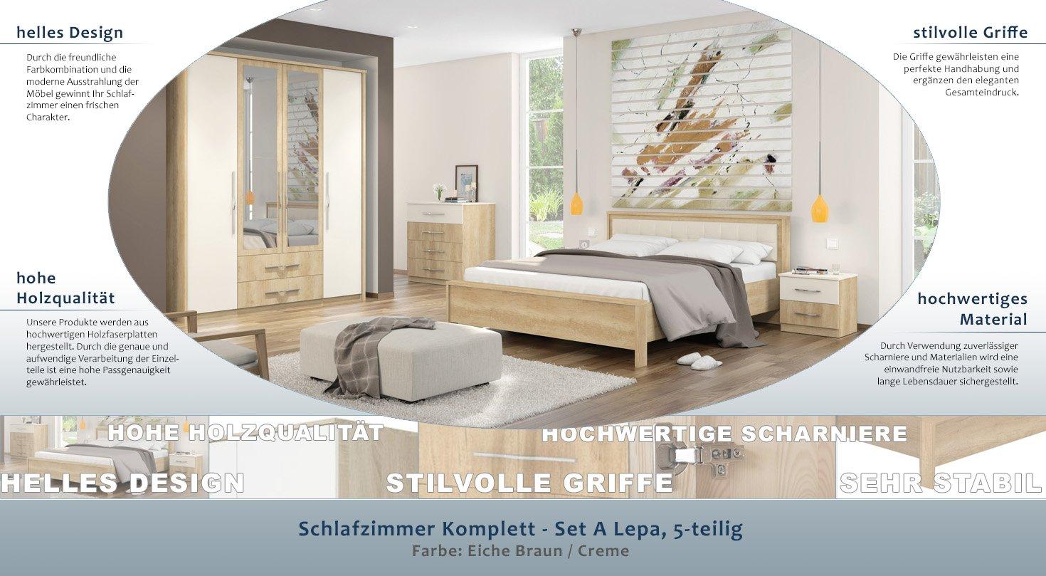 Schlafzimmer Komplett Set A Lepa, 5 Teilig, Farbe: Eiche Braun / Creme: