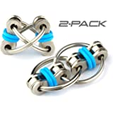 Flippy Chain Fidget Toy by Tom's Fidgets - Perfect for ADHD, Anxiety, and Autism - Bike Chain Fidget Stress Reducer for Adults and Kids (Blue 2PK)