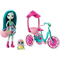 Enchantimals Coffret Sortie à Vélo, Mini-poupée Taylee Tortue et Figurine Animale Bounder avec véhicule et accessoires, jouet enfant, FCC65