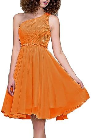 Prom Dresses Short Cocktail Dress One Shoulder Prom Formal Dresses For Women Bridesmaid, Color Tangerine
