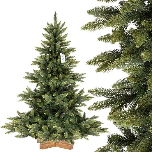 FairyTrees Arbre Sapin Artificiel de Noêl Sapin NORDMANN Premium PU, Socle  en Bois, 150cm, FT24-150
