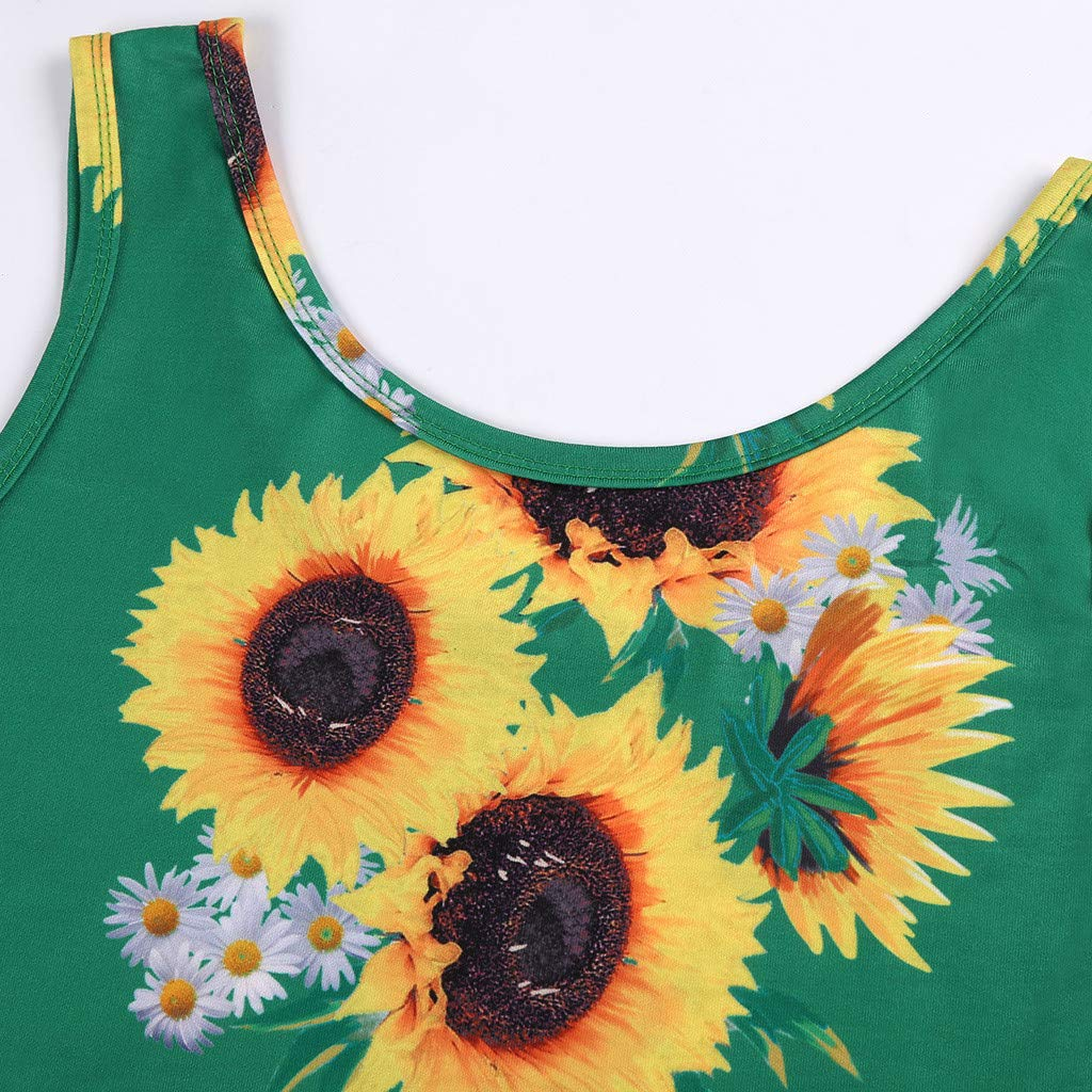 Kiasebu Womens New Sleeveless Star Print A line Waistline Midi Dress Casual Flared Tank Dress