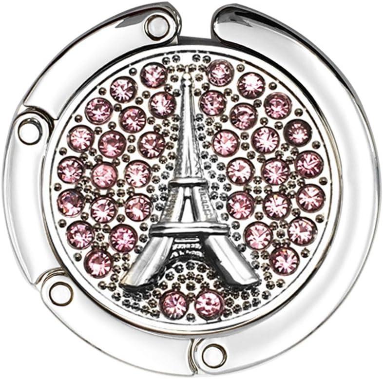 JewelBeauty Rhinestones Eiffel Tower Travel Folding Bag Purse Handbag Table Hook Hanger Holder Decor (Pink)