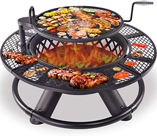Kapler Fire Pit Burning Wood Grill 47In Large Size Fire Pit