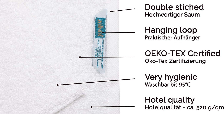 ZOLLNER Set de 3 Serviette de Douche Coton Autres Disponibles Blanc 70x140 cm
