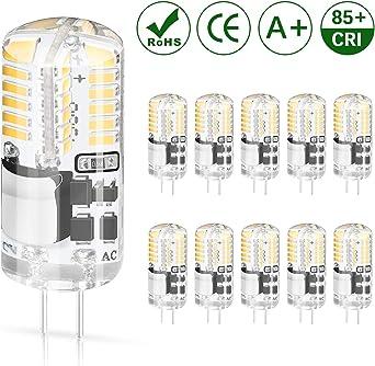 DiCUNO 10-Pack G4 3W Bombilla LED, 250LM, AC/DC 12V Bombillas de iluminación equivalentes a 30W Halógena, Blanco cálido 3000K, No regulable, Reemplazo para la iluminación de la cocina: Amazon.es: Iluminación