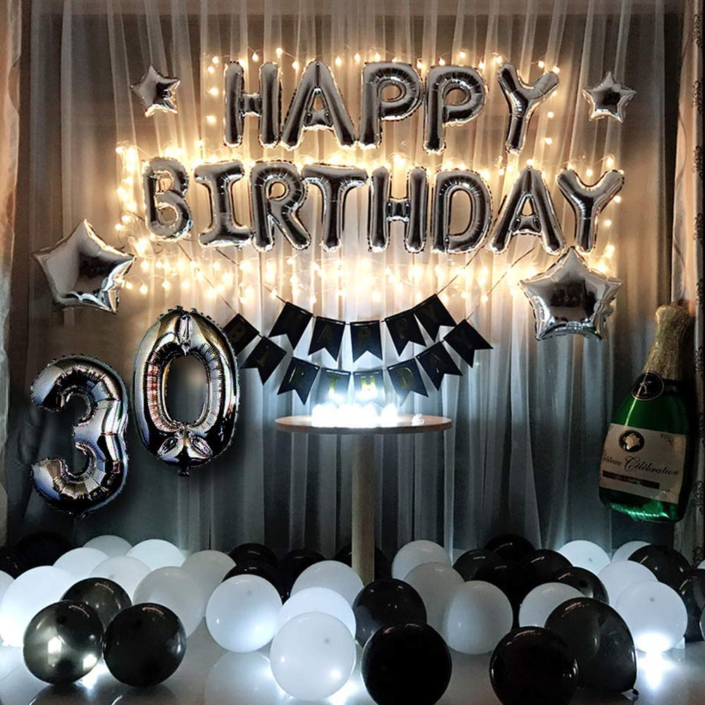30th Birthday Decorations Kit Black and Silver 30th Birthday Party Supplies - Happy Birthday Balloons, Led String Lights, Sliver 30 Foil Balloon, Black Happy Birthday Banner, Star, Black and White La