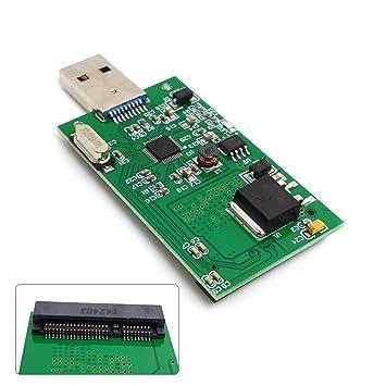 ULIAN Mini pci-e Adaptador USB 3.0 mSATA SSD Disco Duro Caja del ...