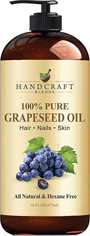 Handcraft Grapeseed Oil - 100% Pure and Natural - Premium Therapeutic Grade Carrier Oil for Aromatherapy, Massage, Moisturizing Skin and Hair Huge - 16 fl. oz - Packaging May Vary