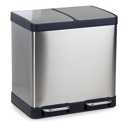 Acero inoxidable cubo de basura con pedal papelera de Oslo, cubo de la basura, dimensiones: 49 x 39 x 49 cm, volumen: 2 x 20 L)