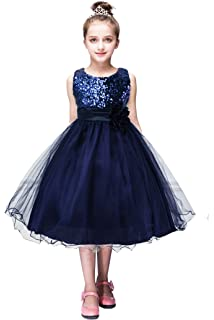 YMING Girls Flower Sequin Princess Dress Sleeveless Tutu Tulle Birthday Party