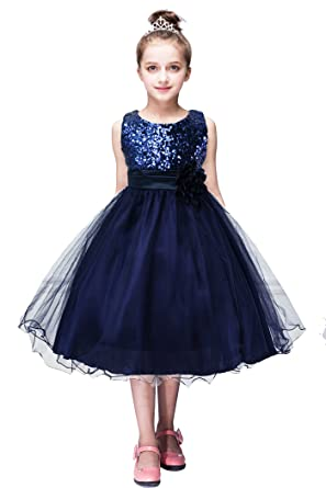 3c3f725ea YMING Girl s Sequin Pricedd Dress for Wedding Party Dress Navy Blue ...
