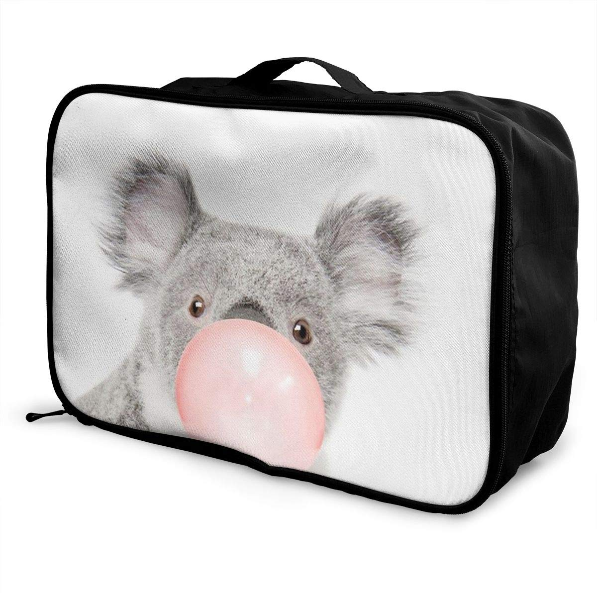 Koala With Bubble Gum Travel Lightweight Waterproof Foldable Storage Carry Luggage Duffle Tote Bag Large Capacity In Trolley Handle Bags 6x11x15 Inch