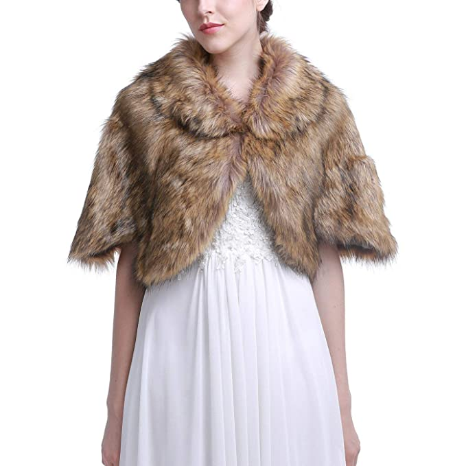 Victorian Capelet, Cape, Cloak, Shawl, Muff Vaveah Womens Wedding Faux Fur Shawls and Wraps Stoles Bridal Cover up $29.99 AT vintagedancer.com