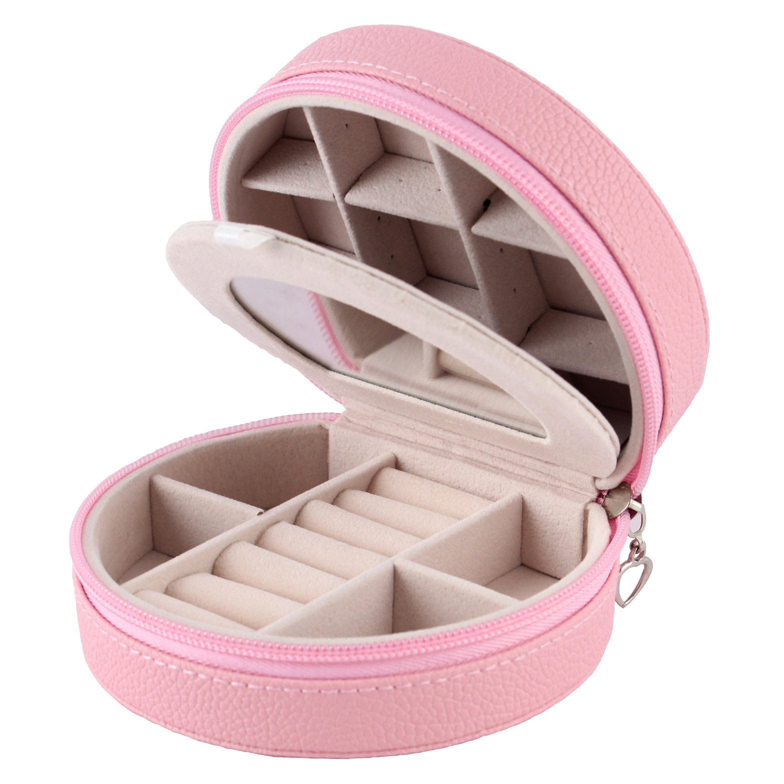Equuleus Jewelry Box for Women | (Pink) | Portable Jewelry, Earring Holder and Ring Storage Case for Travel with Compartment Organizer
