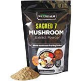 Sacred 7 Organic Mushroom Extract Powder made with Whole Mushrooms, Reishi, Maitake, Cordyceps, Shiitake, Lion's Mane, Turkey Tail, Chaga - 226g - Supplement - Add to Coffee/Tea/Smoothies